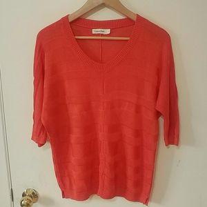 Calvin Klein Three-Quarter Sleeve Knit Sweater